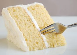 white vanilla cake with fork in it