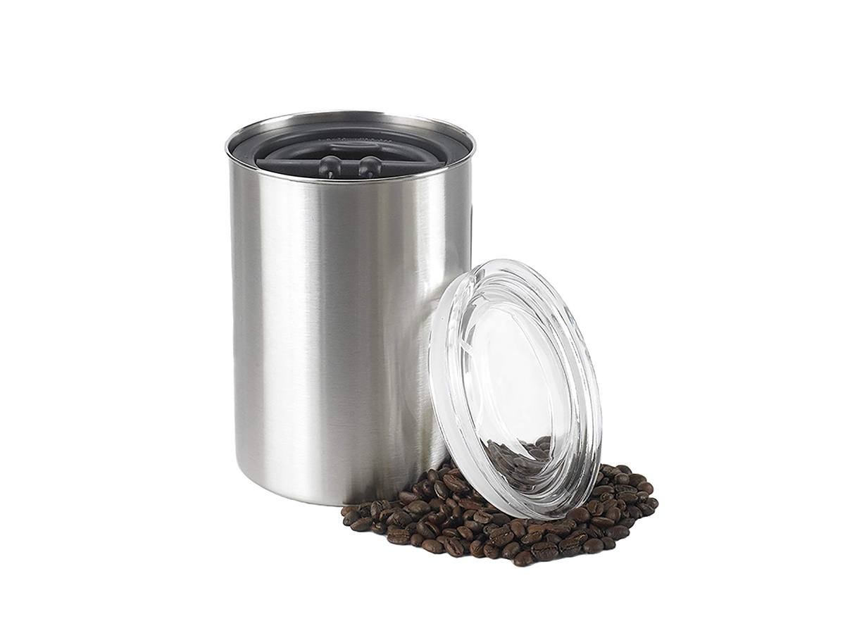 coffee beans stored in an opaque airtight container