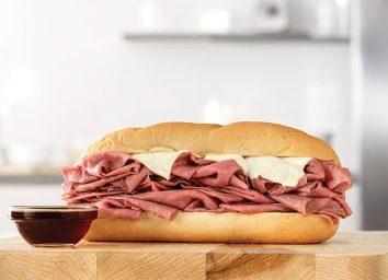 arbys half pound french dip sandwich with swiss au jus