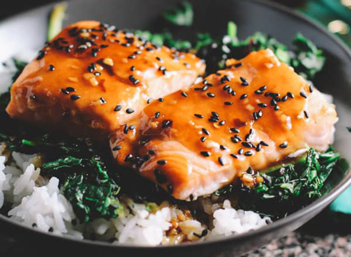 asian salmon with spinach rice bowls recipe