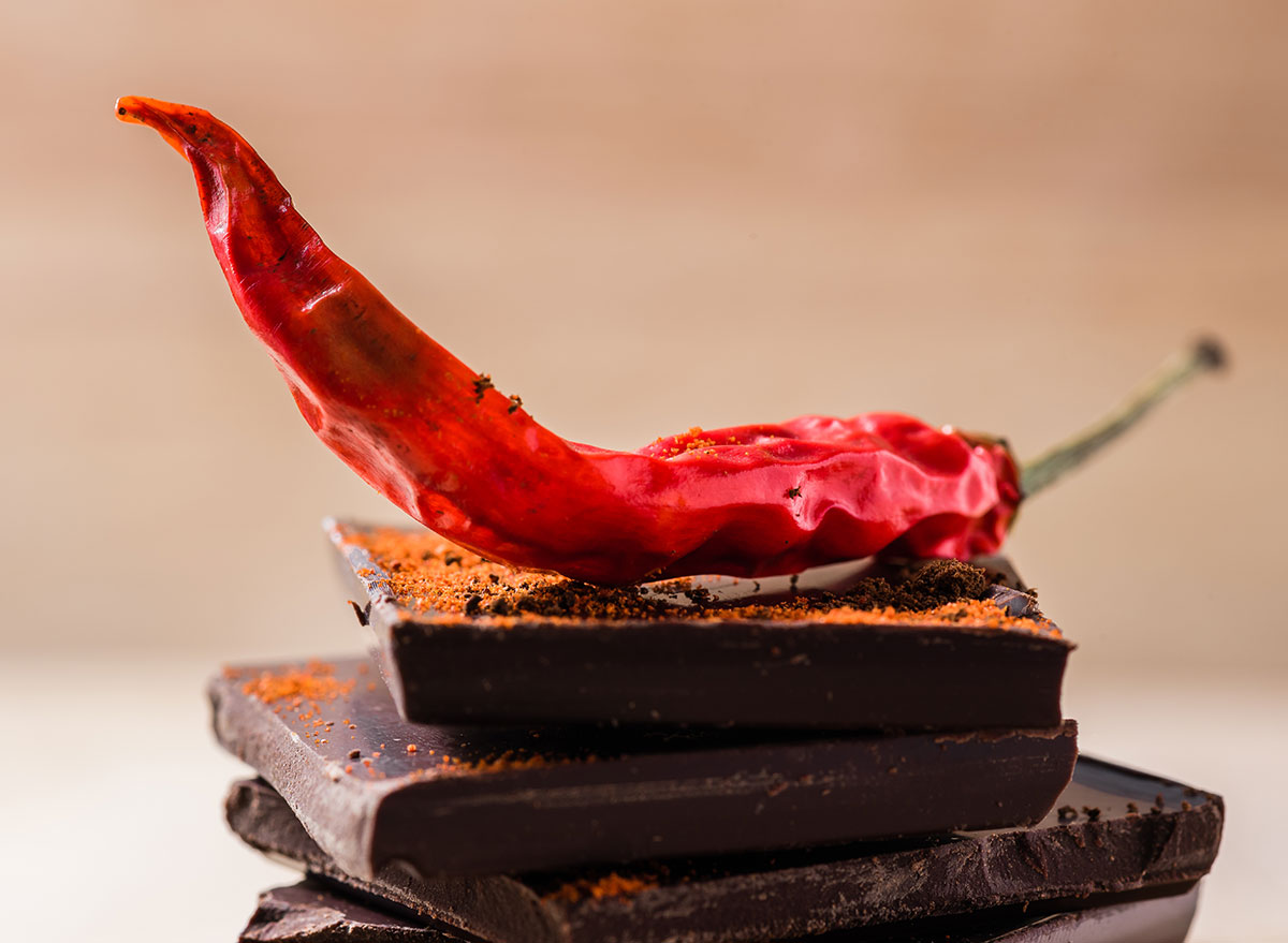 pieces of chocolate with chili pepper on top