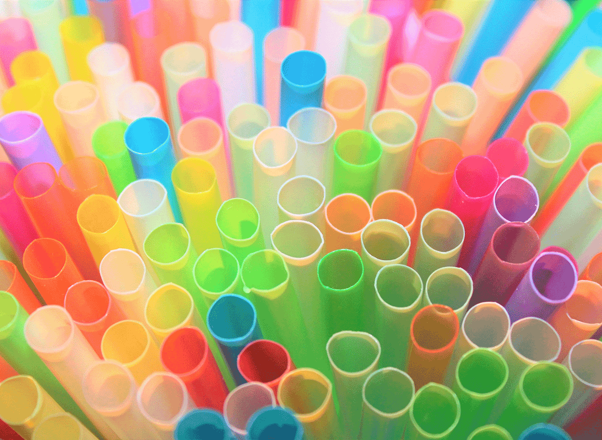 colorful straws in bunch