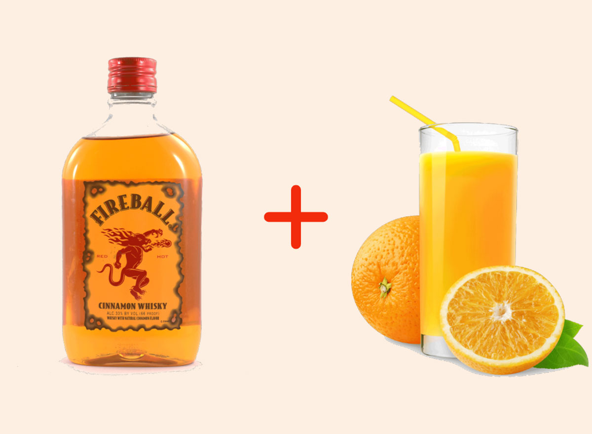 fireball with orange juice gross drink combo