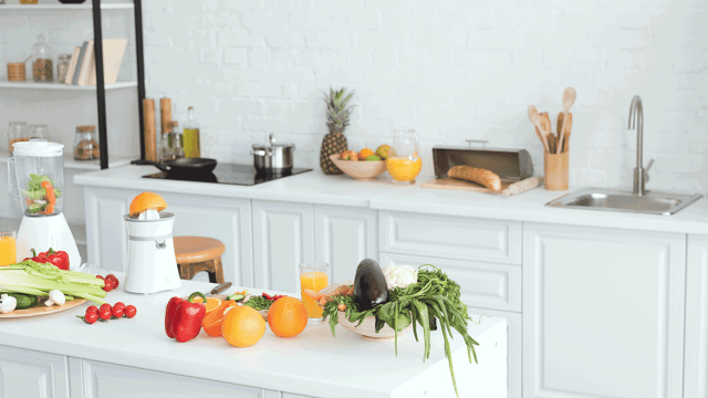 fruit and veggies sitting out on counter