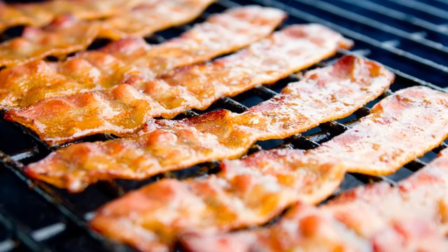 bacon strips on grill