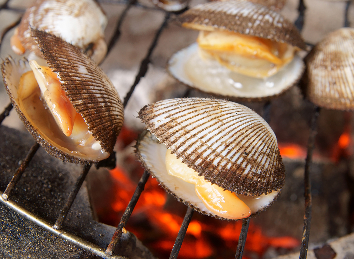 clams still in shell on grill