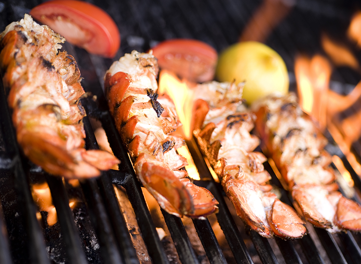 lobster on flaming grill