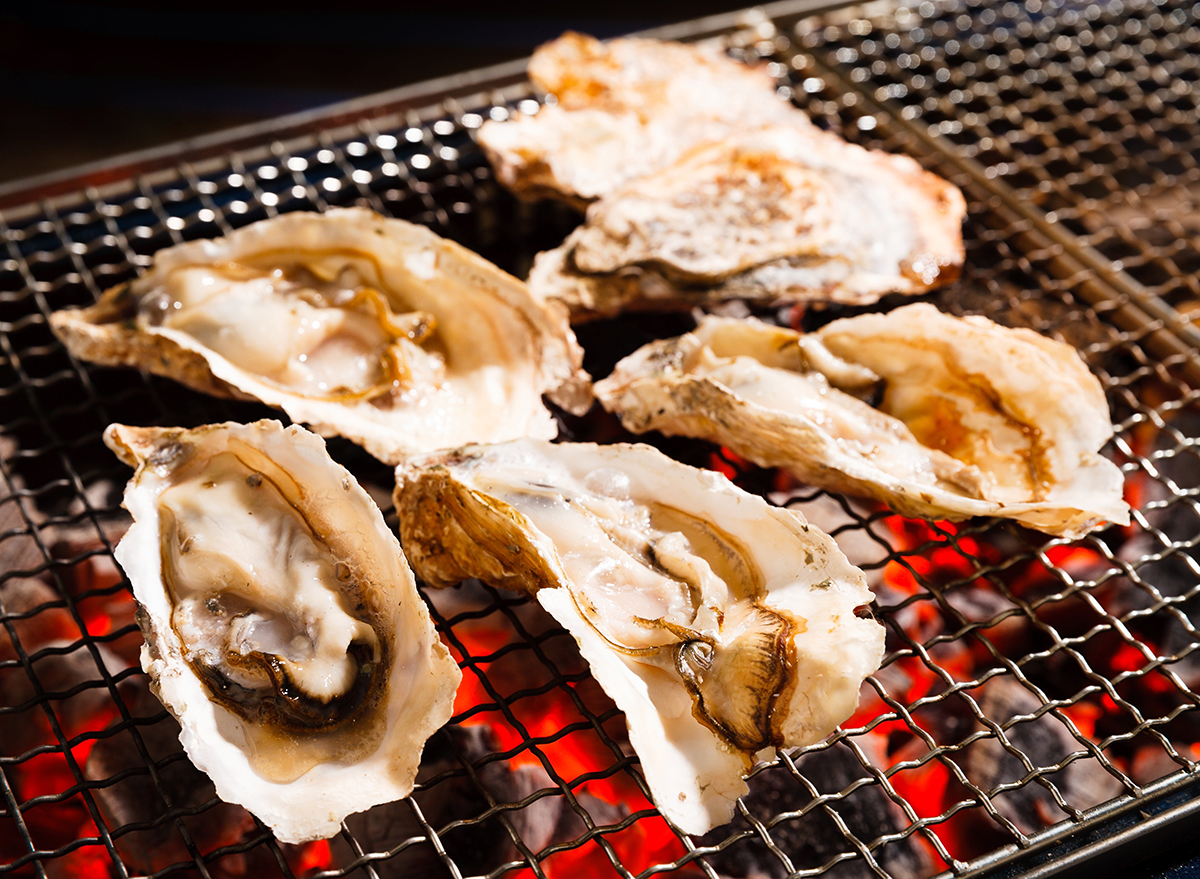 oysters in shell on grill
