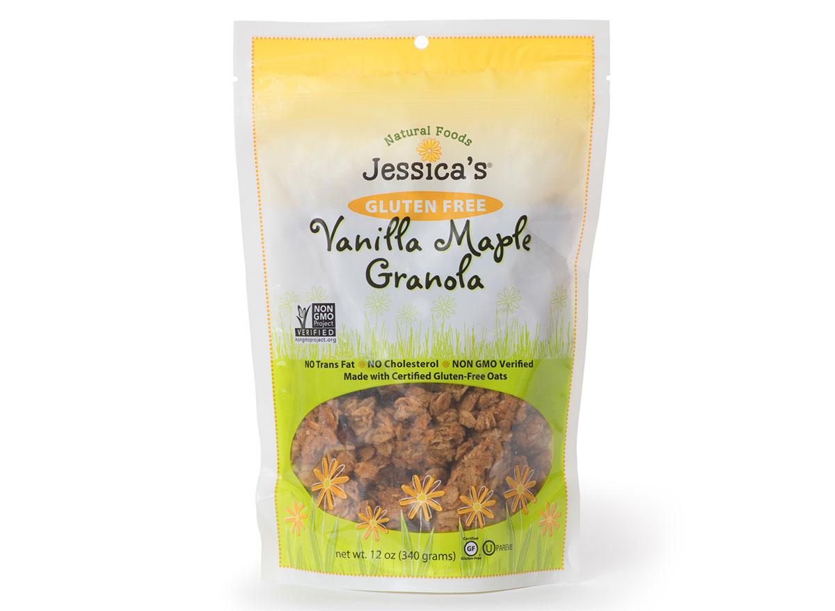 jessicas vanilla maple flavored gluten free granola bag