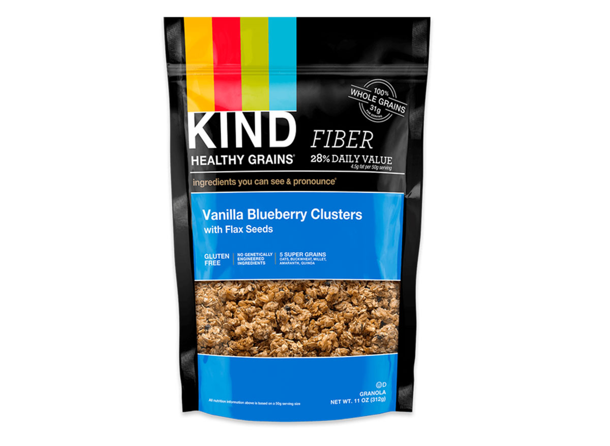 kind healthy grains vanilla blueberry flavored clusters with flax seeds gluten free granola bag