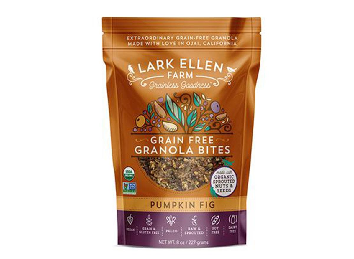 lark ellen farm grain free granola bites pumpkin fig flavored bag