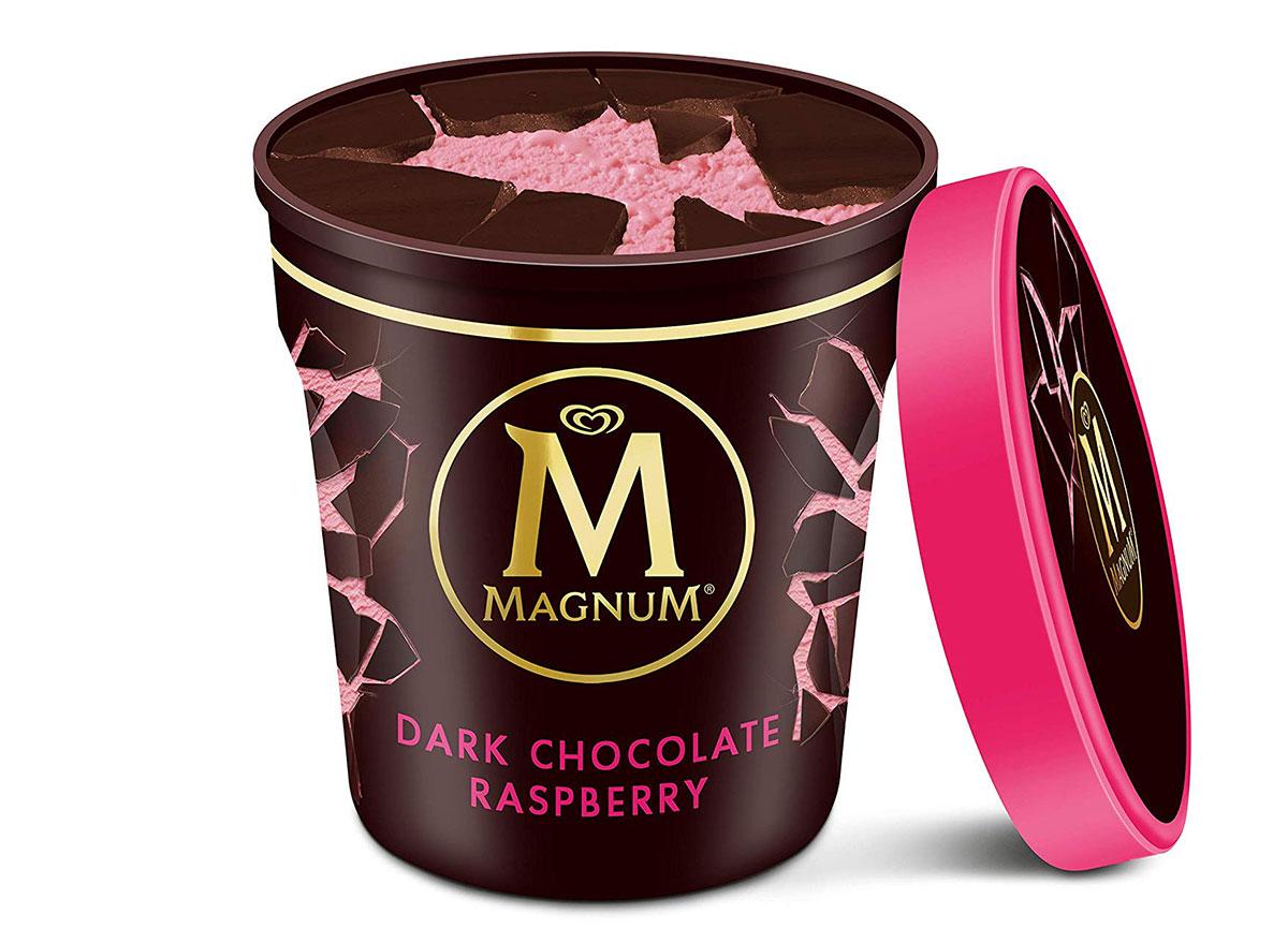 magnum dark chocolate raspberry ice cream tub