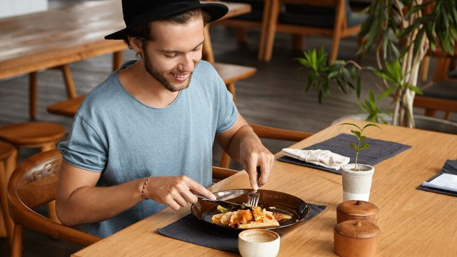 man dining alone