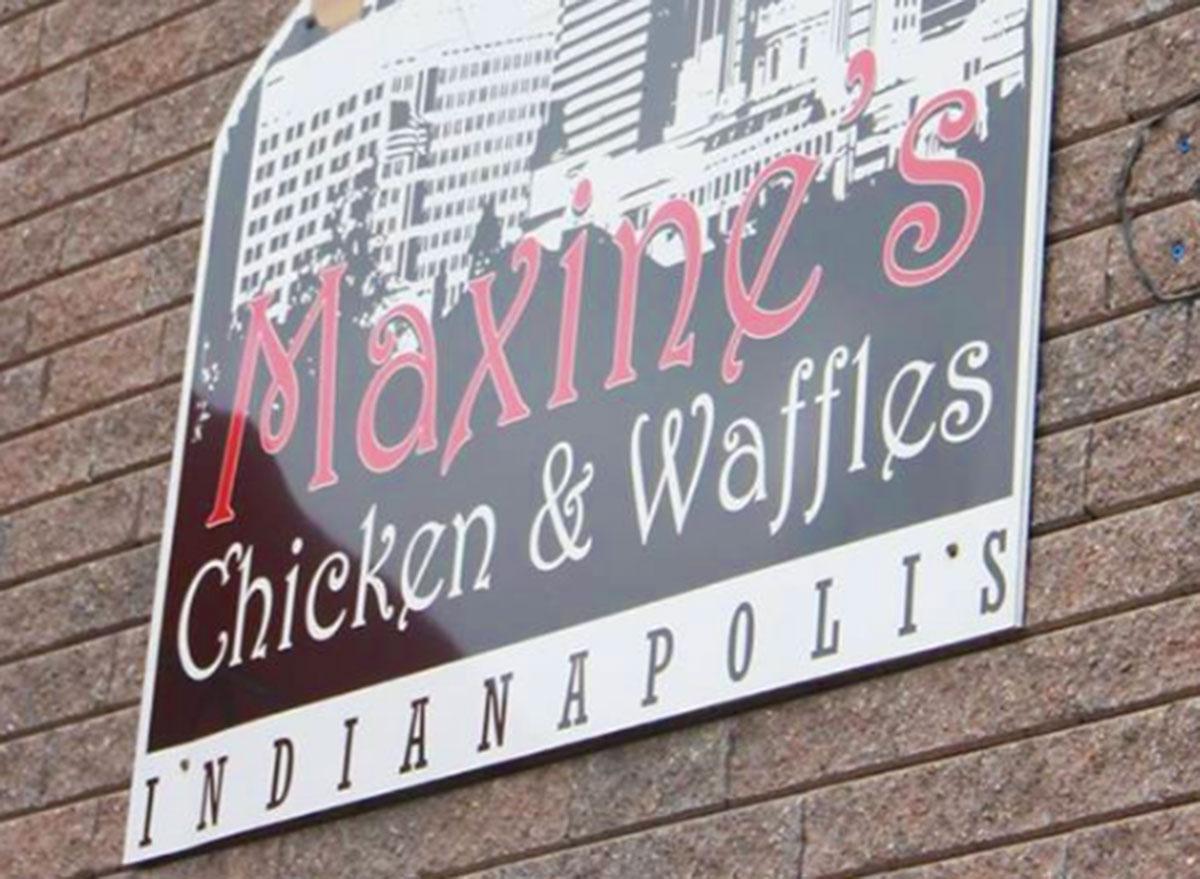 maxine chicken waffles restaurant sign