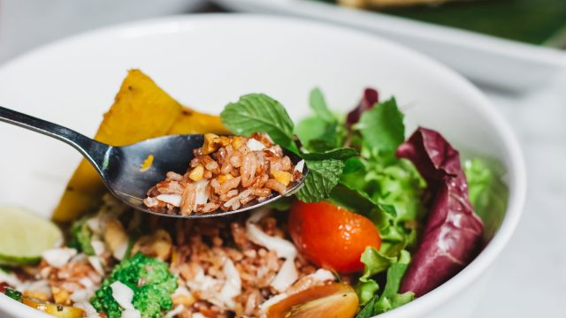 Meatless monday grain bowl mint broccoli lettuce tomatoes