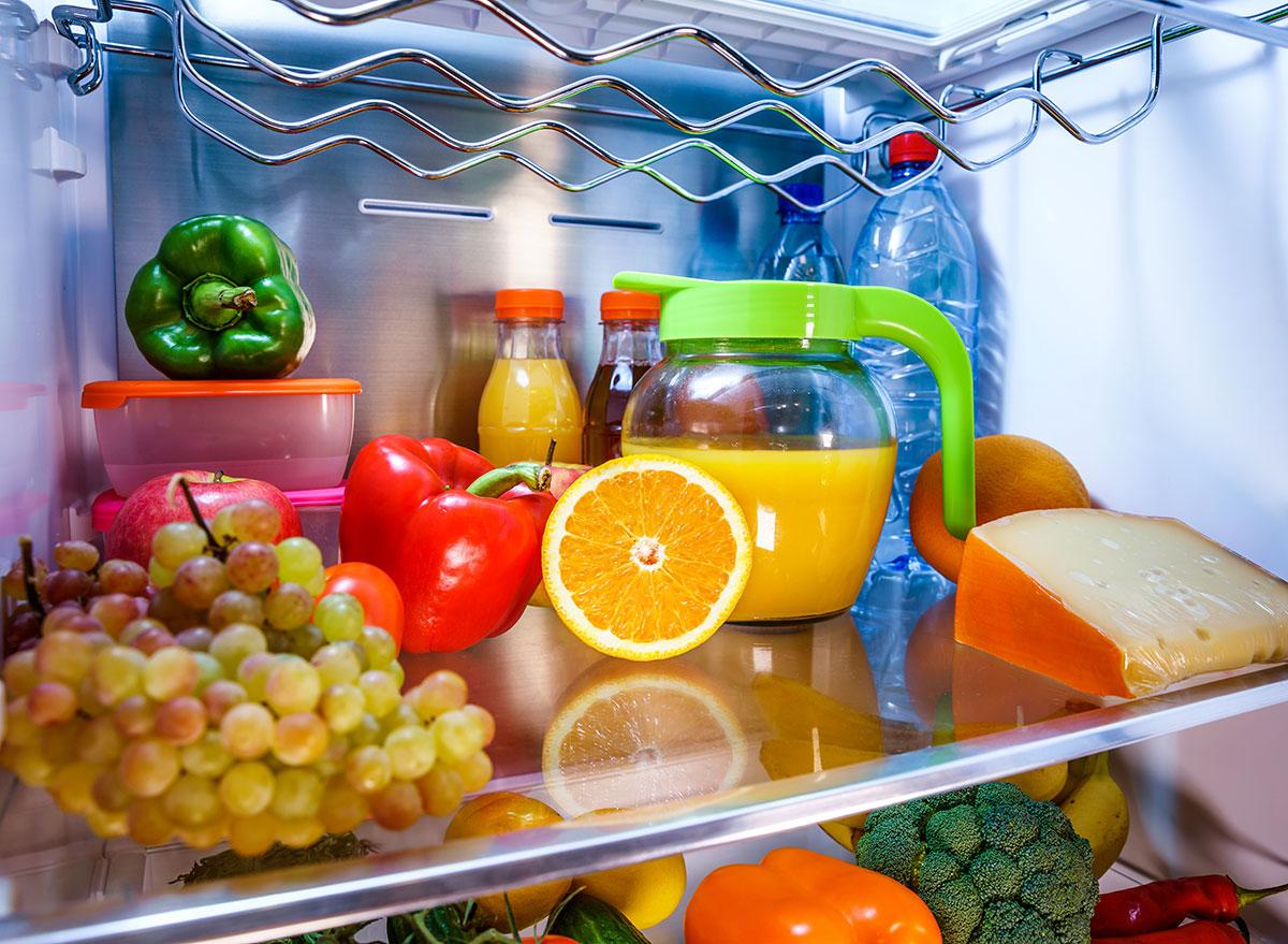 middle shelf fridge juice fruits