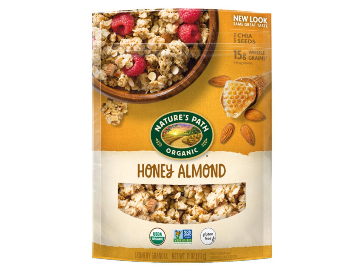 natures path organic honey almond flavored gluten free granola bag