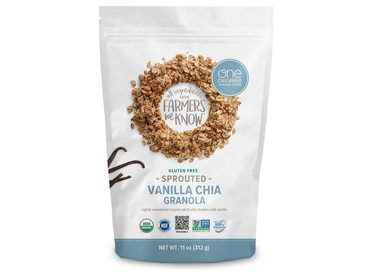 one degree vanilla chia flavored sprouted gluten free granola bag