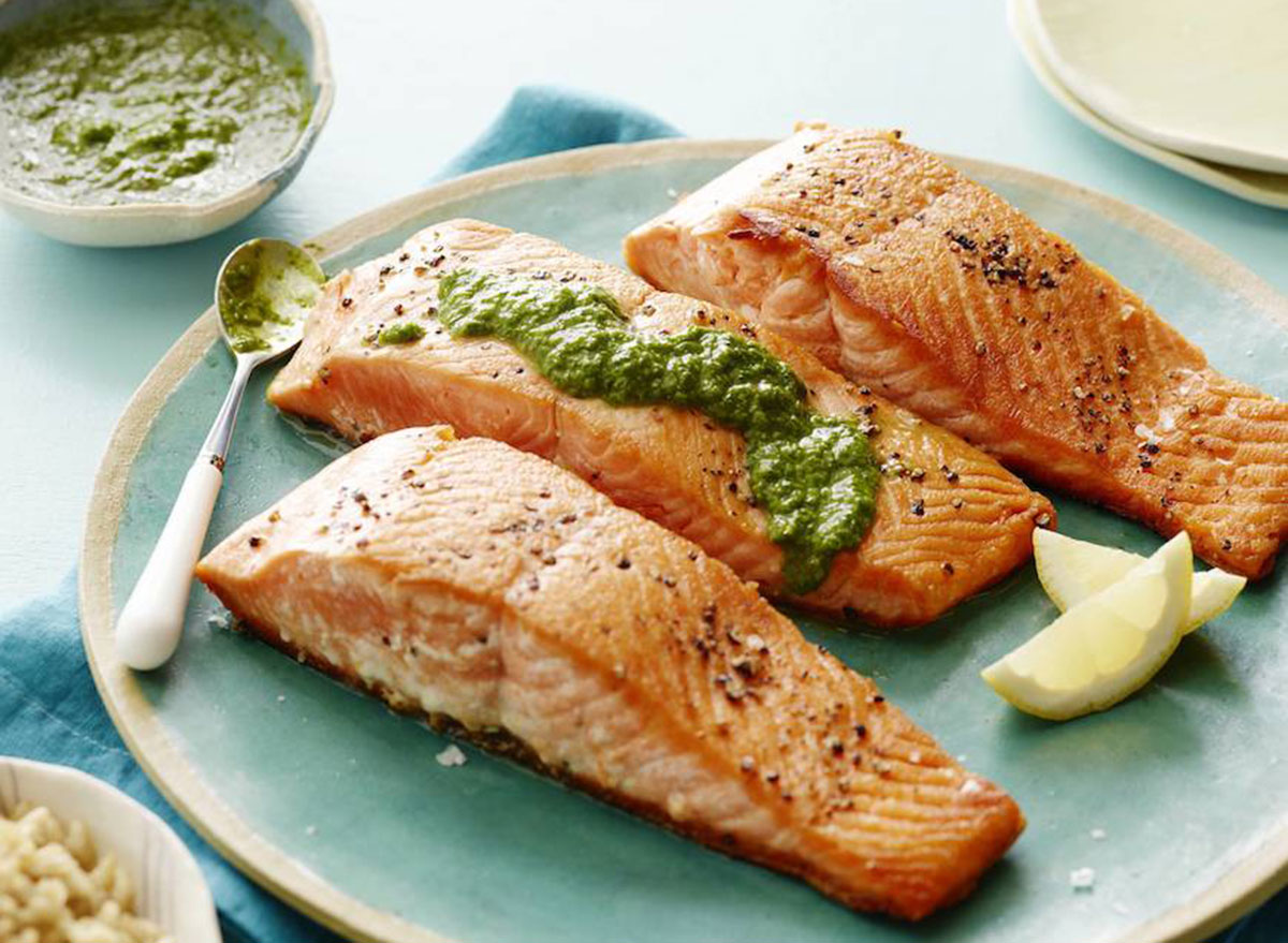 pan seared salmon with basil vinaigrette recipe