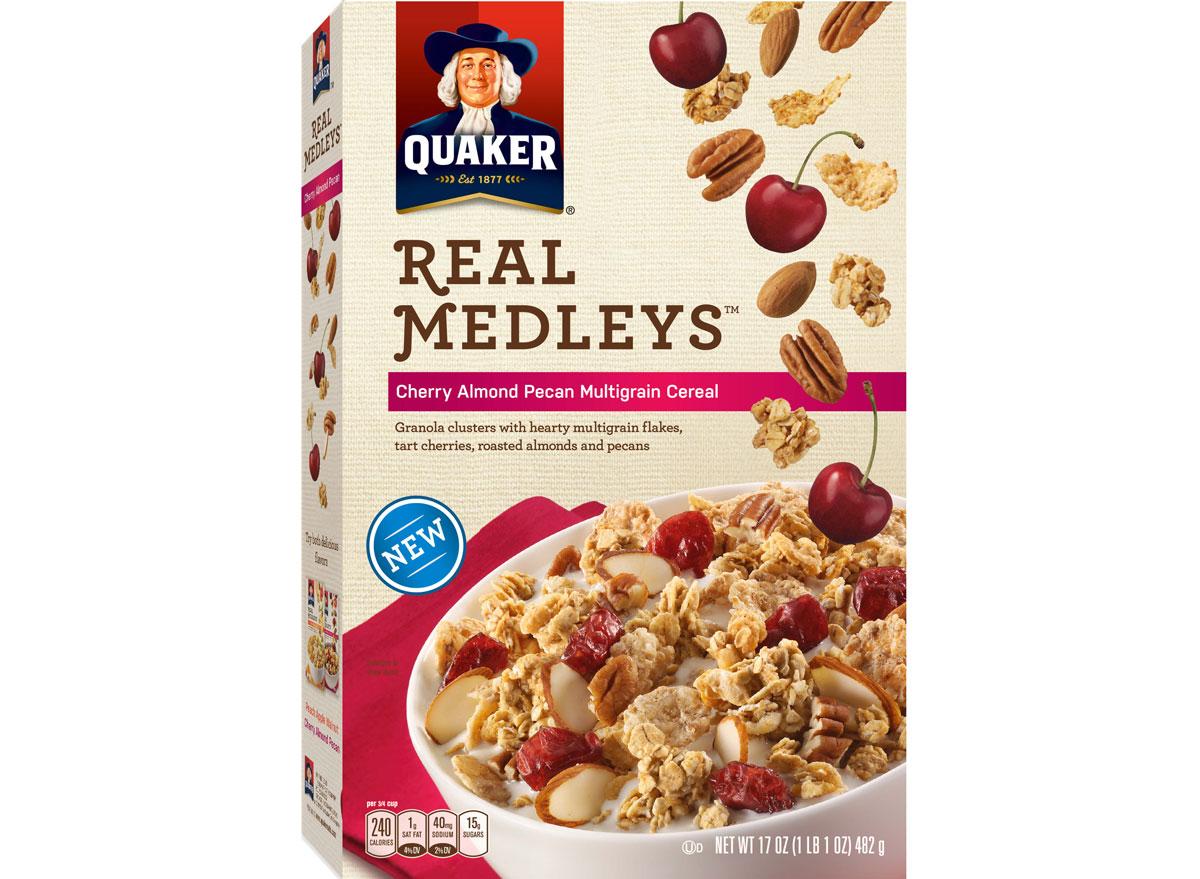 quaker real medleys cherry almond pecan cereal - unhealthiest worst cereals