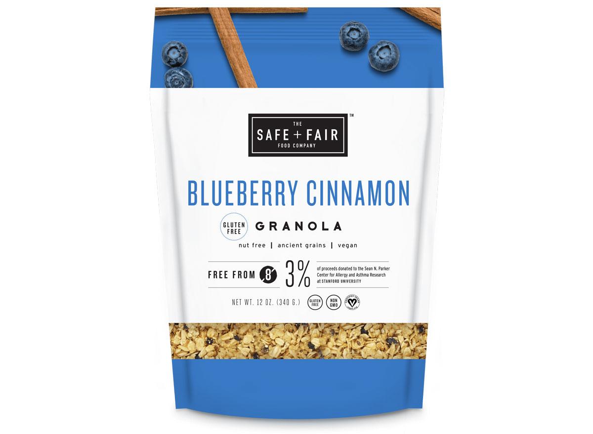 safe and fair blueberry cinnamon gluten free granola