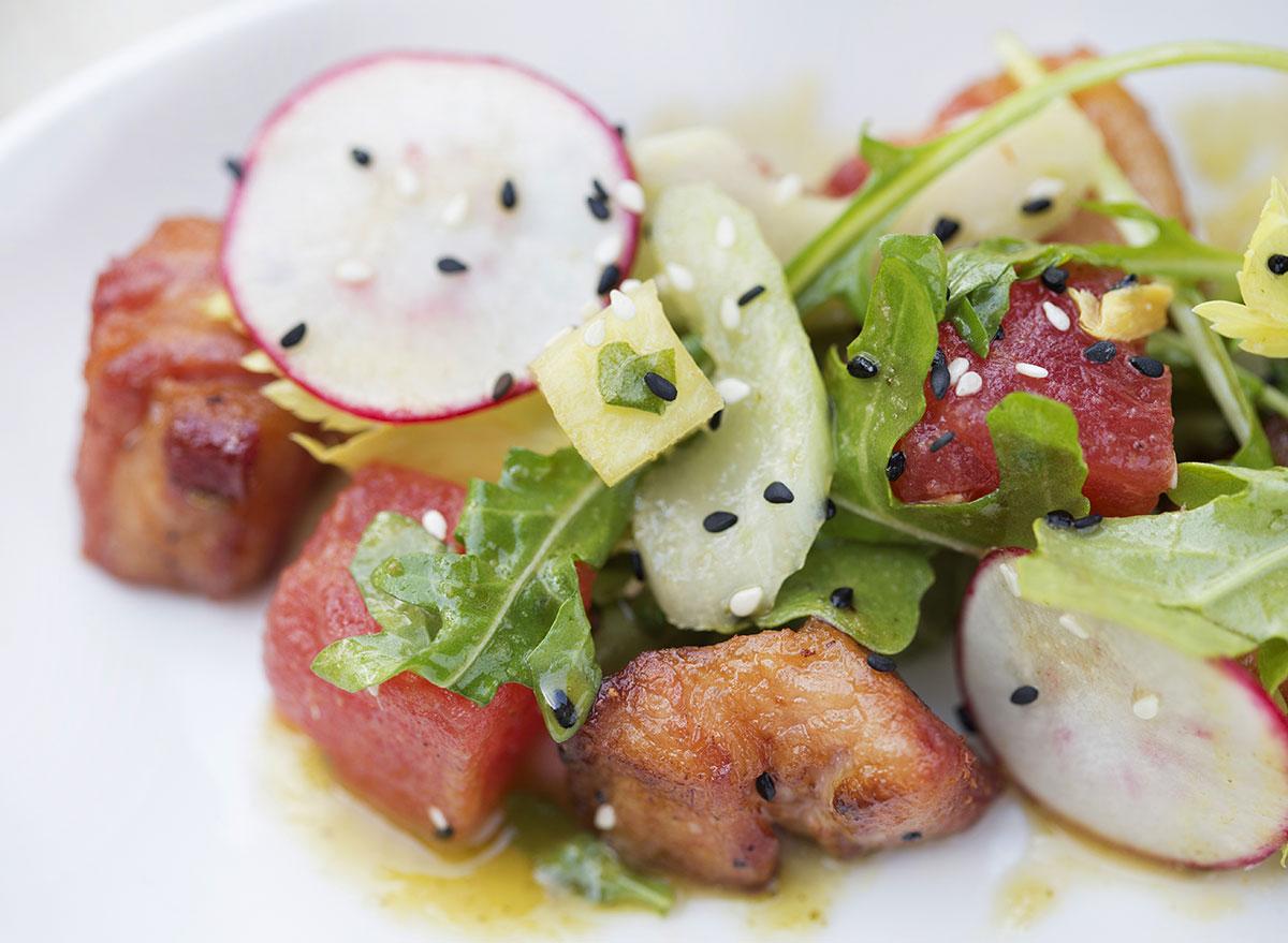 watermelon radish meat salad with ginger-lime vinaigrette
