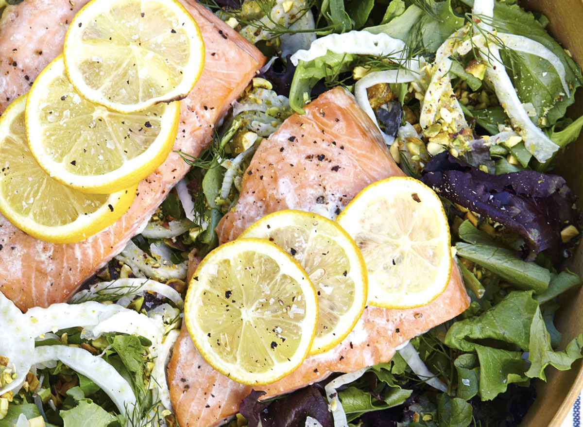 salmon salad with fennel pistachio recipe