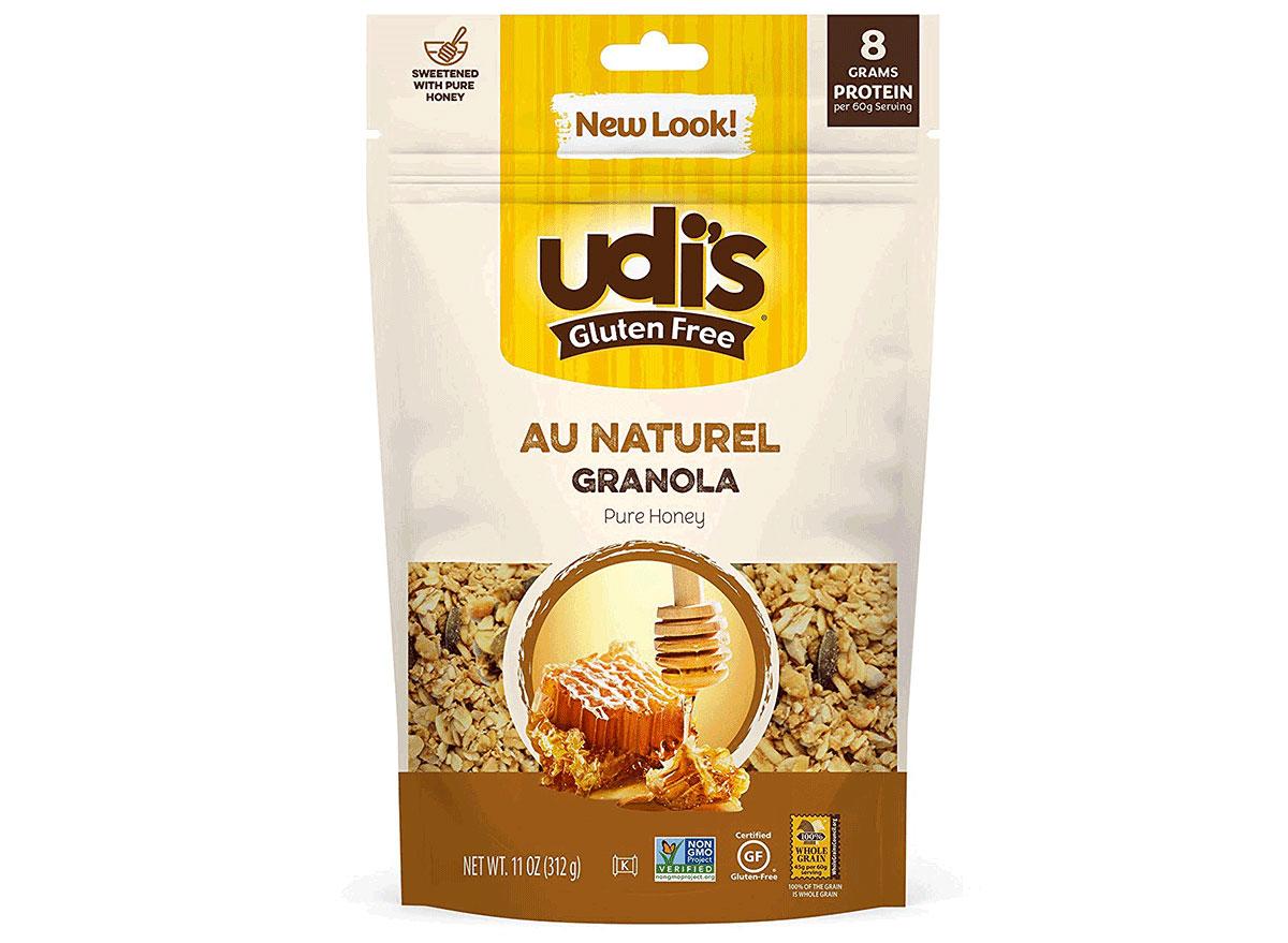 udis gluten free au naturel pure honey flavored granola bag