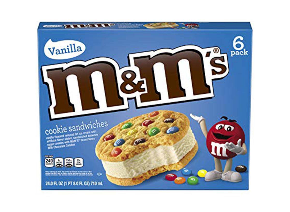 vanilla m&m cookie sandwiches