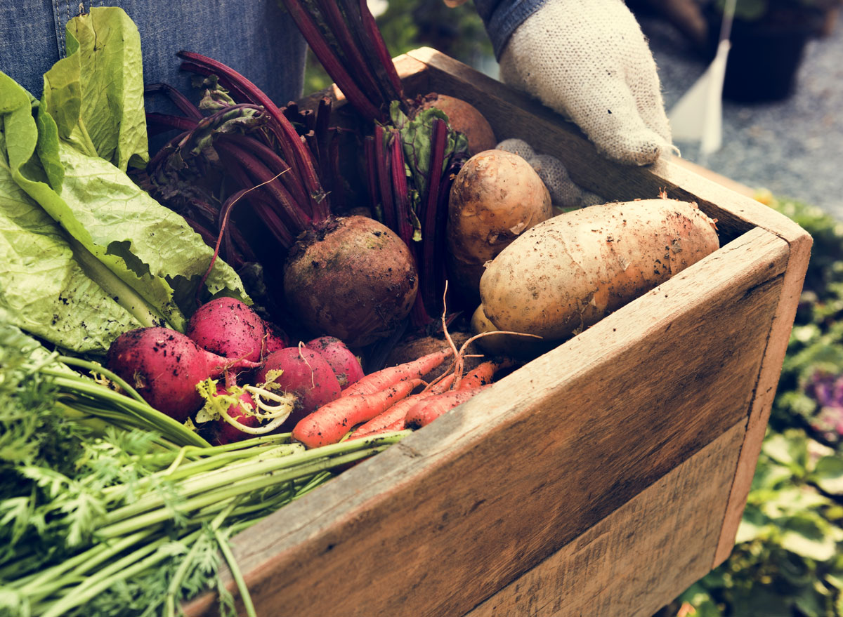 organic vegetables in wooden crate