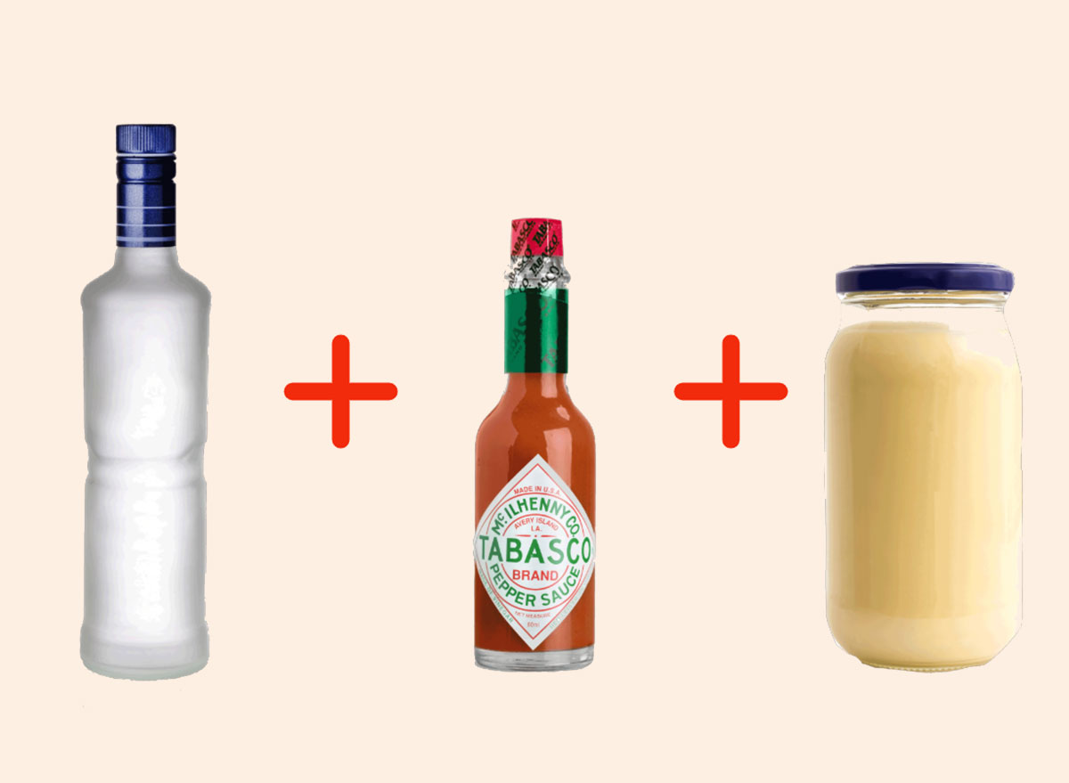 vodka with tabasco with mayo gross drink combo