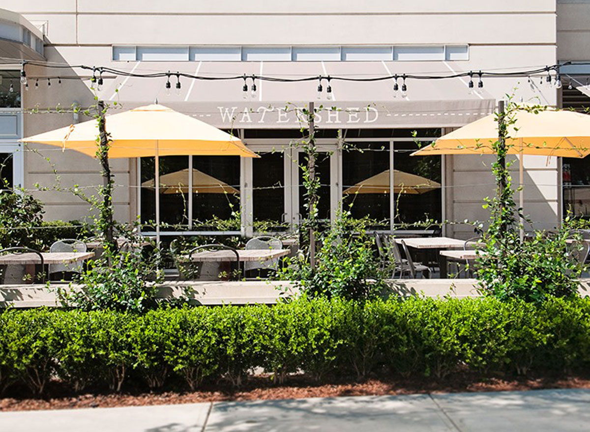 watershed restaurant courtyard with tables