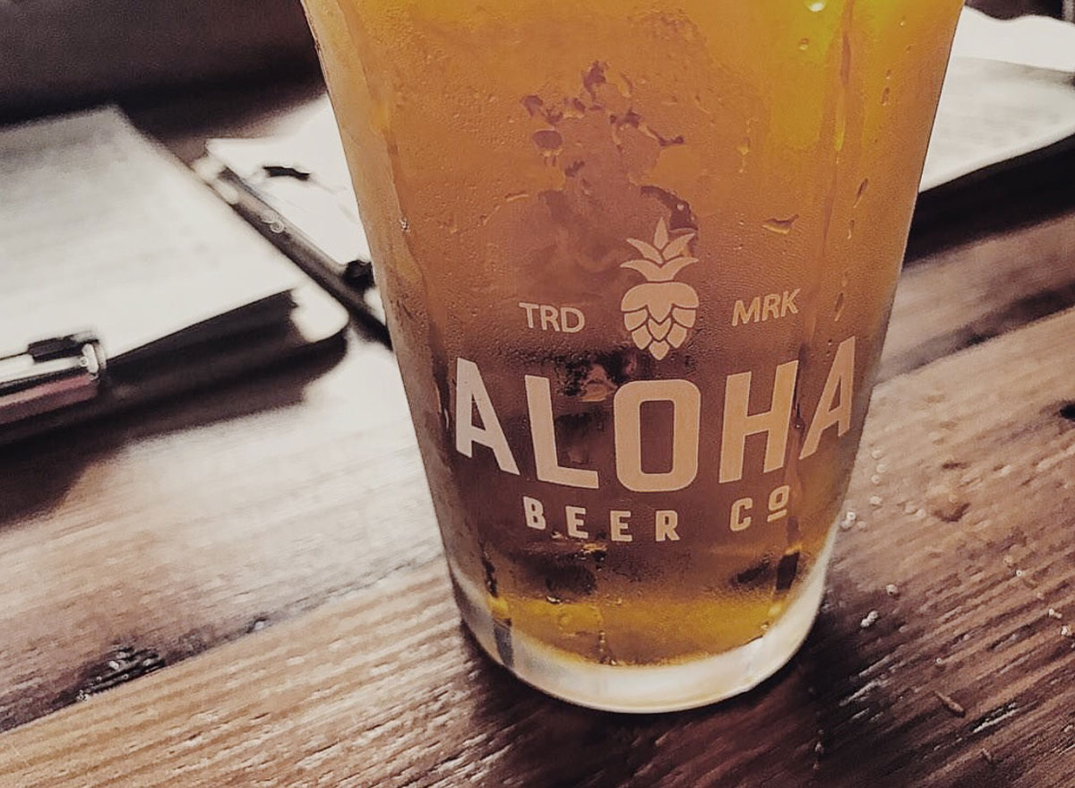 aloha beer glass closeup most popular beer hawaii