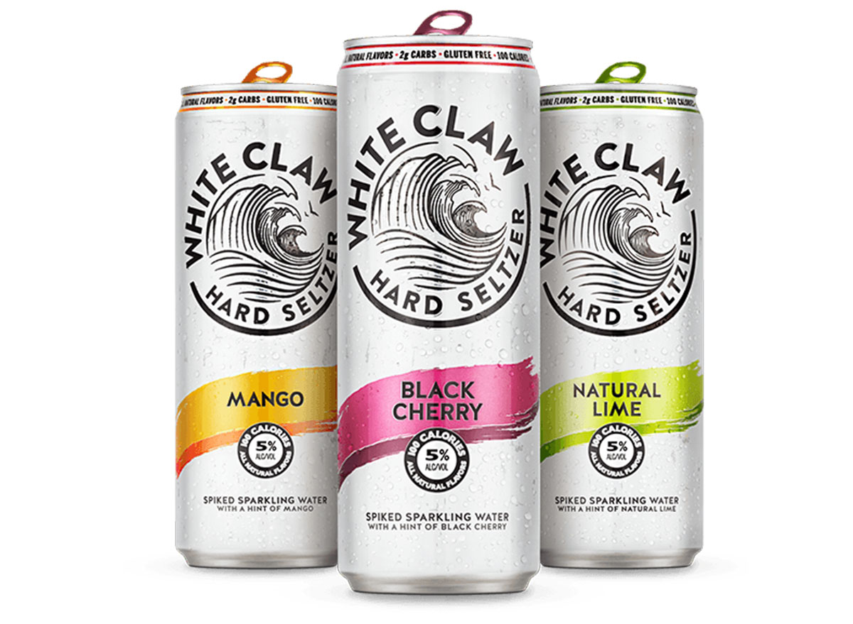 assorted white claw hard seltzer cans
