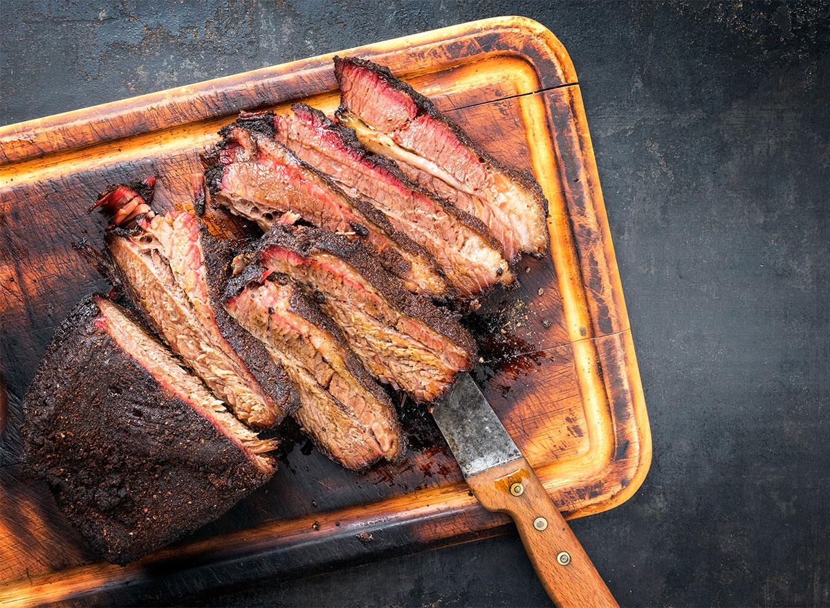 beef brisket on platter