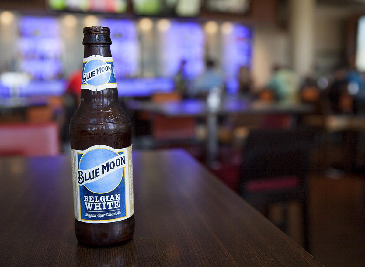 blue moon beer bottle bar counter most popular beer oklahoma