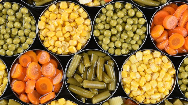 open canned corn carrots peas green beans
