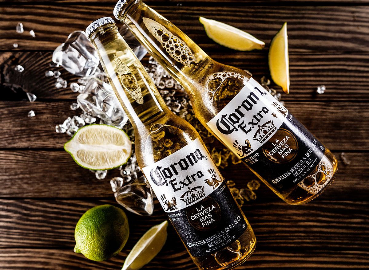 close up corona bottles wooden background most popular beer maryland