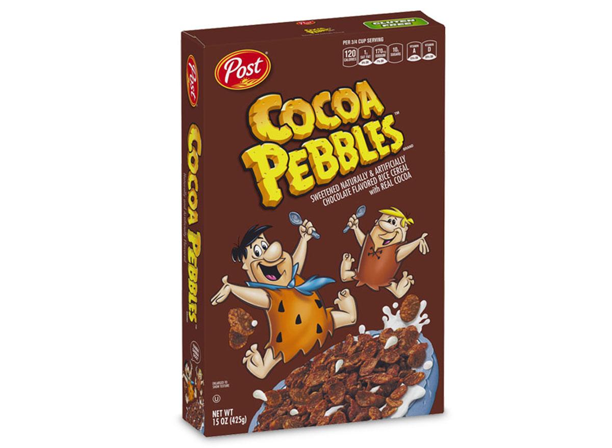 post cocoa pebbles cereal box