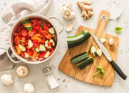 Vegetarian meal prep with italian peppers zucchini mushroom