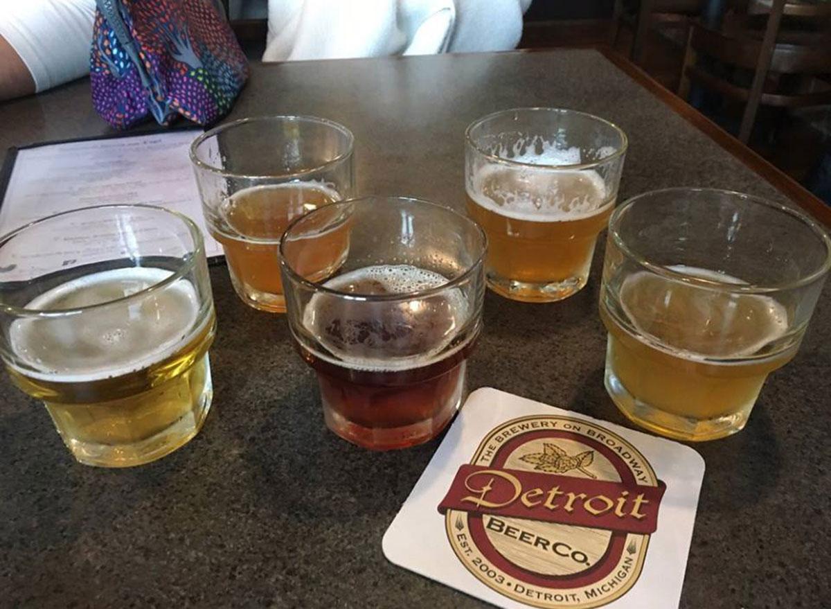 detroit beer co sample glasses most popular beer michigan