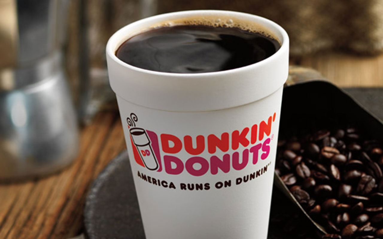 dunkin hot black coffee cup