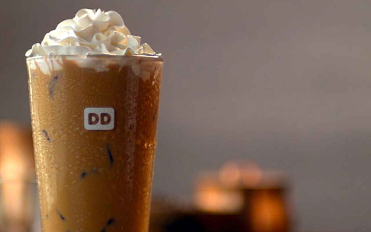 dunkin donuts iced late whipped cream topped