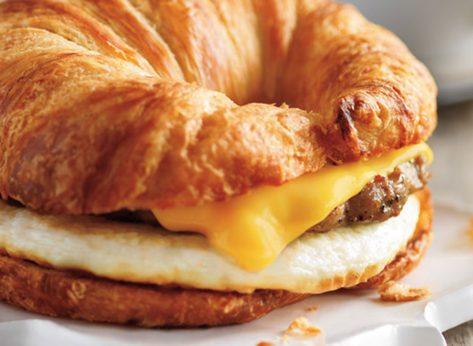 dunkin sausage egg cheese sandwich croissant