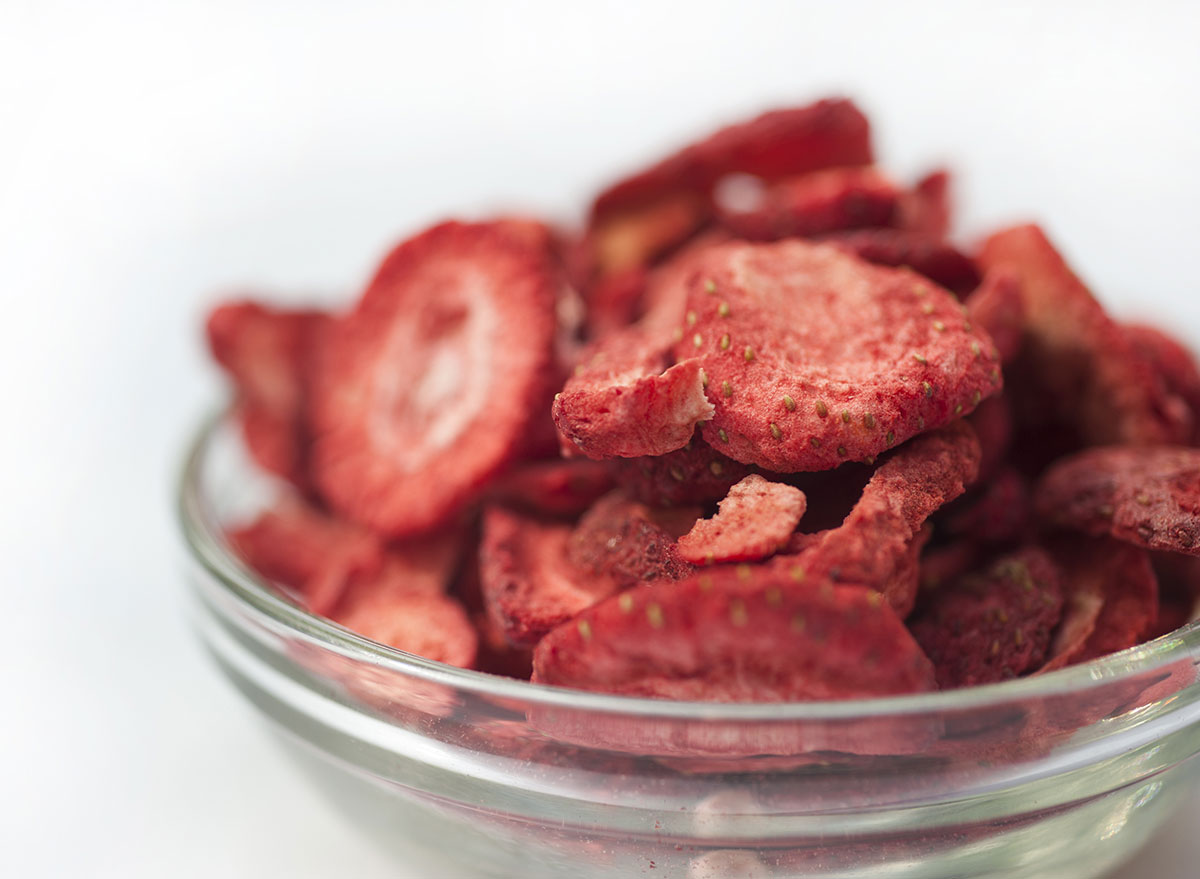 freeze dried strawberries in clear glass bowl