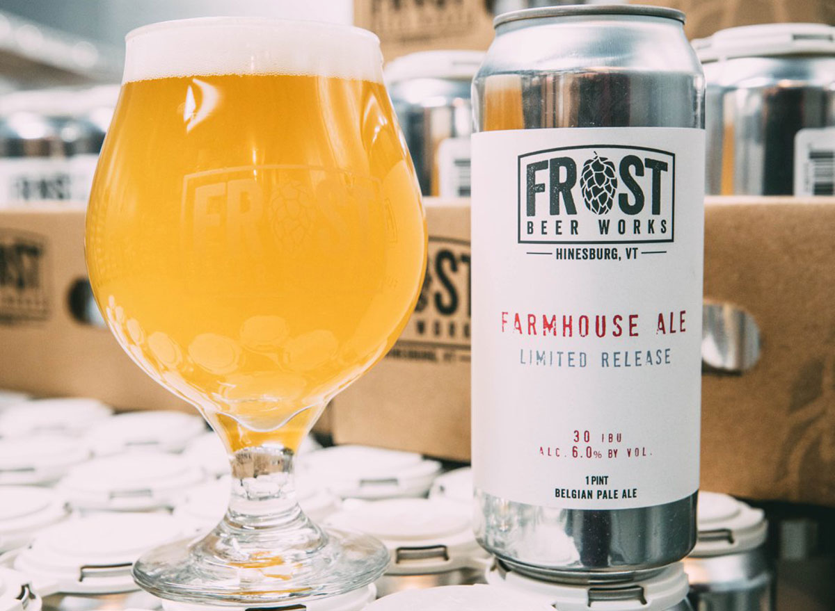 frost beer works farmhouse ale can glass most popular beer vermont