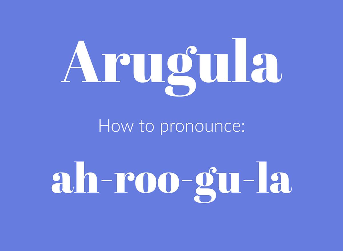 how to pronounce arugula graphic