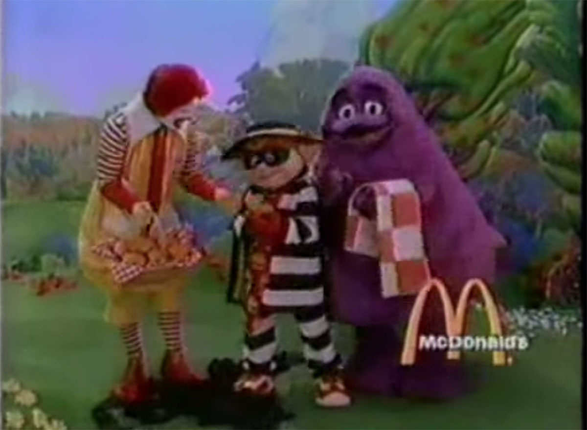 Grimace from mcdonalds in a 1980s commercial