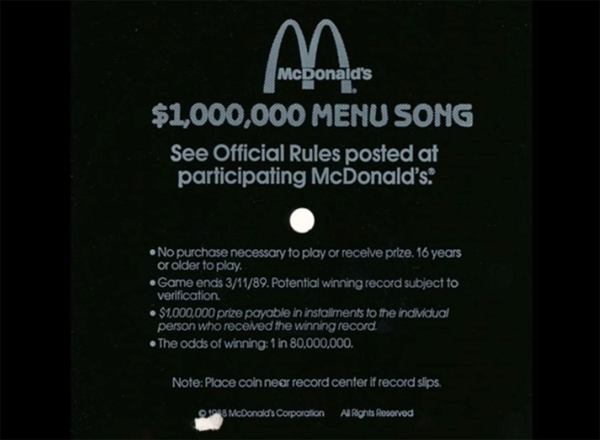 Mcdonalds menu song 1989
