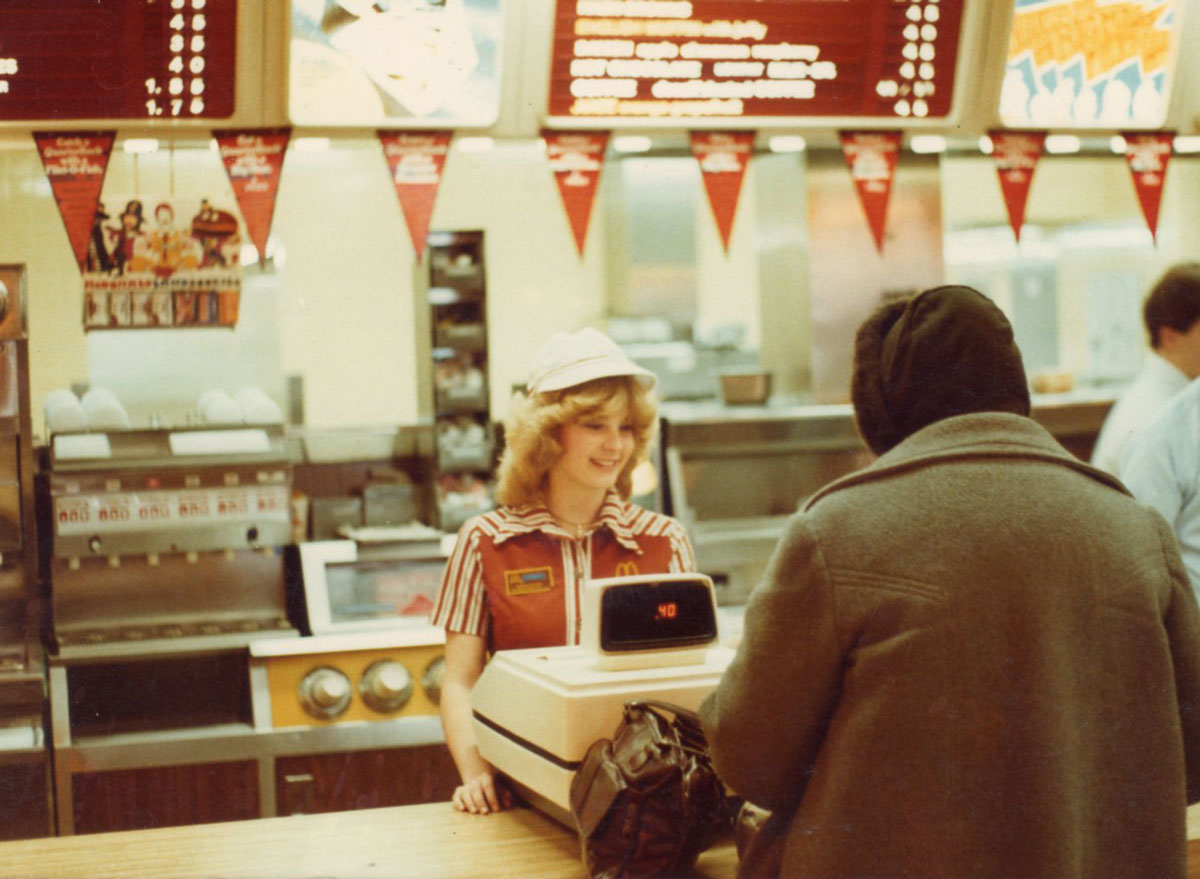 Mcdonalds woman working register in early 1980s